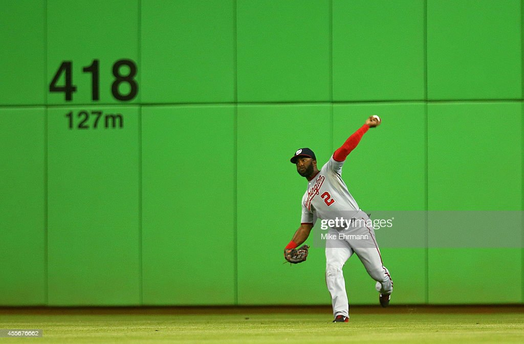 Denard Span #2 of the Washington Nationals makes a throw during a game against the Miami Marlins at Marlins Park on September 18, 2014 in Miami, Florida.