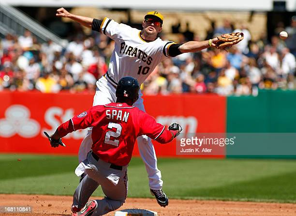 Denard Span of the Washington Nationals steals second base in the third inning against Jordy Mercer of the Pittsburgh Pirates during the game on May...