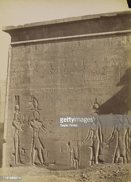 Dendera, Exterior of the Temple with Cleopatra / Denderah, Exterieur du Temple avec la Cleopatra, Antonio Beato , 1880 - 1889, Albumen silver print,...