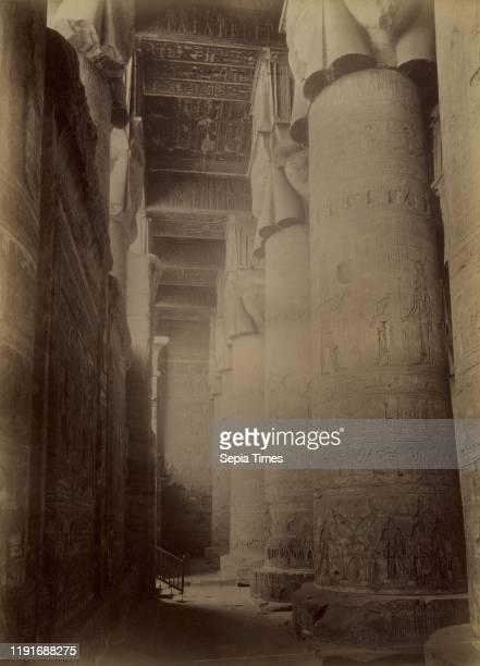 Dendera, Interior of the Temple / Denderah, Interieur du Temple, Antonio Beato , 1880 - 1889, Albumen silver print, 35.8 _ 25.8 cm