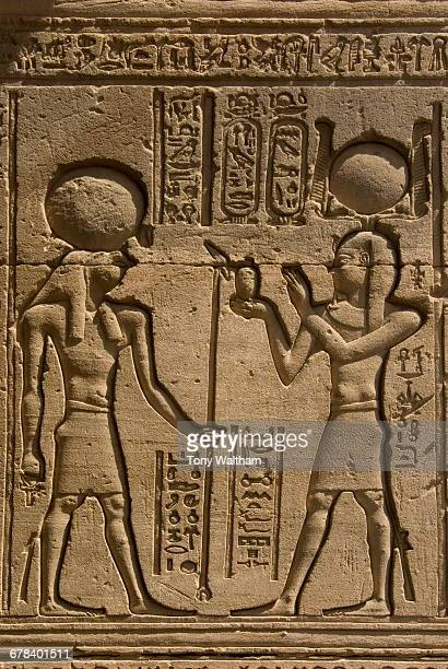 dendera necropolis, qena, nile valley, egypt; carvings on the outside wall of the temple of hathor - tempelcomplex van dendera stockfoto's en -beelden