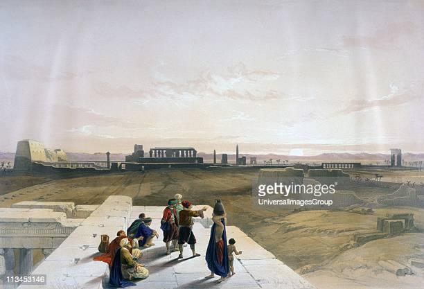 Dendera' Watercolour David Roberts Scottish artist and orientalist View across the temple complex Egypt'