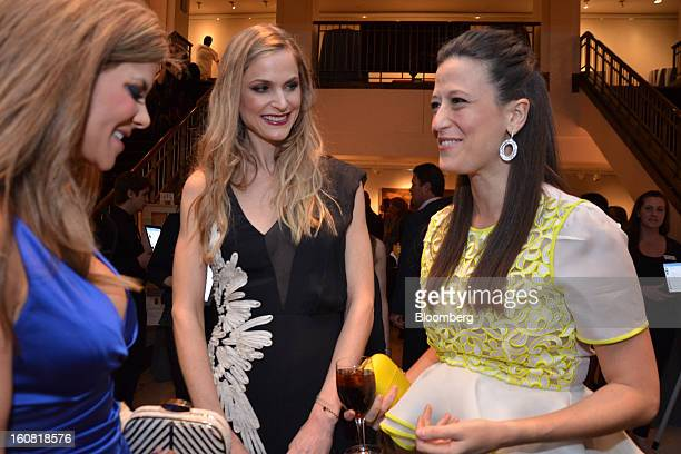 Dendy Engelman a dermatologist from left Annelise Peterson a publicist and Maggie Cordish a guest converse during a benefit for Bent on Learning held...