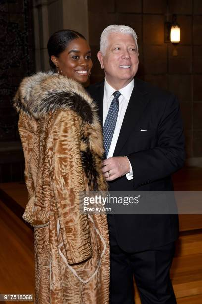 Denee Benton and Dennis Basso attend the Dennis Basso Fall/Winter 2018 Collection Runway Show at Saint Bart's Church on February 12 2018 in New York...