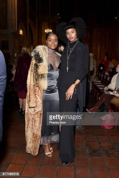 Denee Benton and Tiera Benton attend the Dennis Basso Fall/Winter 2018 Collection Runway Show at Saint Bart's Church on February 12 2018 in New York...