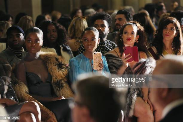 Denee Benton Ashleigh Murray Dascha Polanco and Laura Gomez attend the Dennis Basso fashion show at St Bartholomew's Church on February 12 2018 in...