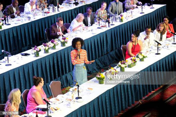 Denee Benton speaks at the 83rd Annual Drama League Awards at Marriott Marquis on May 19 2017 in New York City