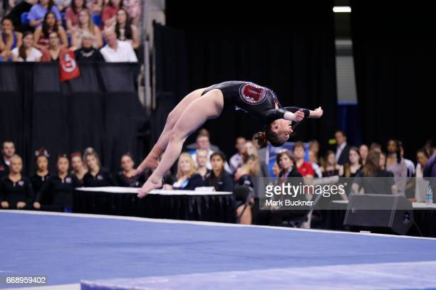 Denelle Pedrick for Utah Utes gymnast competes on the floor the Division I Women's Gymnastics Championship is held at Chaifetz Arena on April 15 2017...