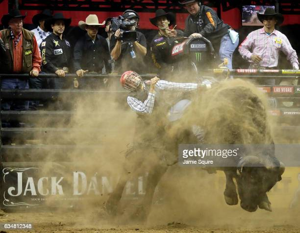 Dener Barbosa rides Seven Dust during the 15/15 round of the PBR Kansas City Invitational at the Sprint Center on February 11 2017 in Kansas City...