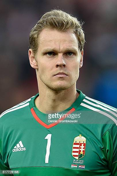 Denes Dibusz of Hungary in action during the International Friendly match between Hungary and Croatia at Groupama Arena on March 26 2016 in Budapest...