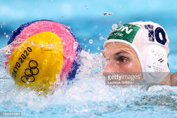 Denes Varga of Team Hungary on attack during the Men's Quarterfinal match between Hungary and Croatia on day twelve of the Tokyo 2020 Olympic Games...
