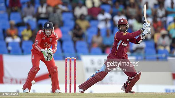 Denesh Ramdin of the West Indies bats during the 3rd One Day International between the West Indies and England at Sir Viv Richards Cricket Ground on...