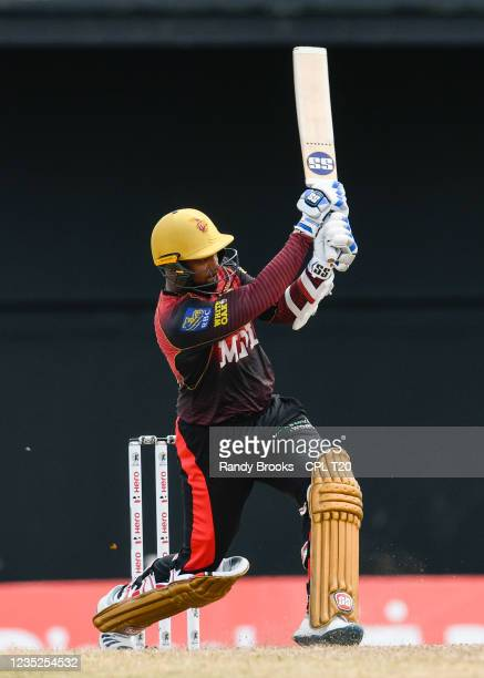 Denesh Ramdin of Trinbago Knight Riders hits 6 during the 2021 Hero Caribbean Premier League Play-Off match 31 between Saint Lucia Kings and Trinbago...