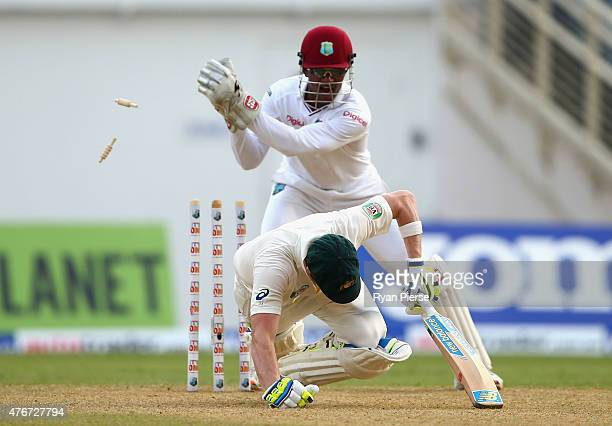 Denesh Ramdin of West Indies attempts to stump Steve Smith of Australia but he is given not out during day one of the Second Test match between...