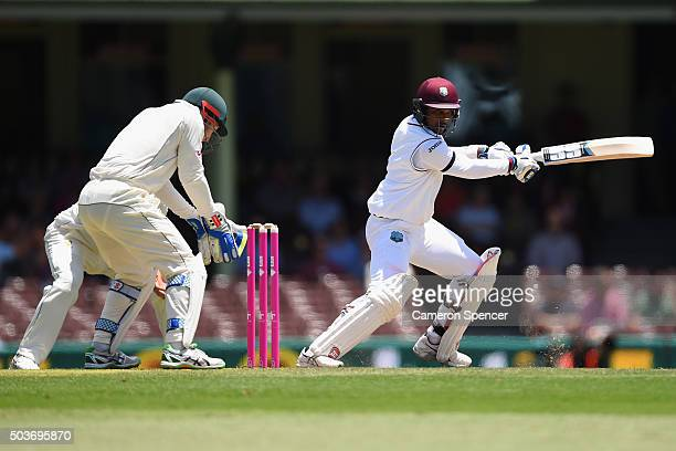 Denesh Ramdin of West Indies bats during day five of the third Test match between Australia and the West Indies at Sydney Cricket Ground on January 7...