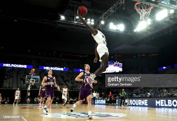 Deng Adel of the Hawks drives at the basket during the NBL Cup match between the Sydney Kings and the Illawarra Hawks at John Cain Arena on March 11...