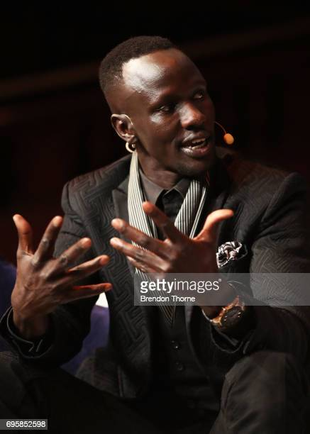 Deng Adut 2017 NSW Australian of the Year speaks during 'RightsTalk Inspiring change in human rights' at Sydney Town Hall on June 14 2017 in Sydney...