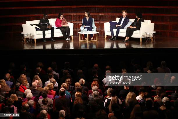 Deng Adut Yasmin Khan Jason Ball and Andrea Mason speak during 'RightsTalk Inspiring change in human rights' at Sydney Town Hall on June 14 2017 in...