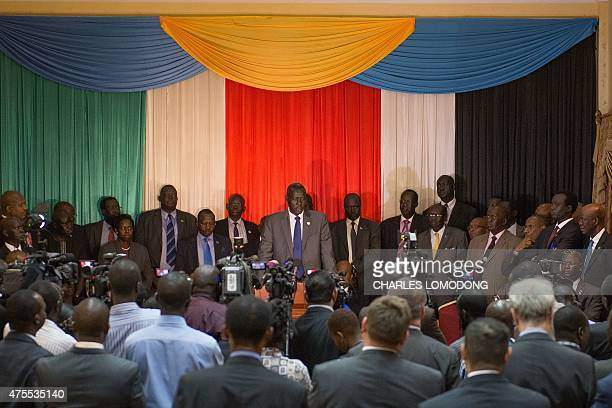Deng Alor , former South Sudanese minister and head of a five-member delegation of former detainees, addresses a press conference upon his arrival in...