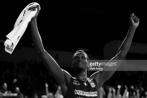 Deng Deng of the Hawks celebrate victory during the round 21 NBL match between the Illawarra Hawks and the Perth Wildcats at WIN Entertainment...