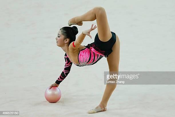 Deng Senyue of China competes in the Gymnastics Rhythmic Individual AllAround Final during day thirteen of the 2014 Asian Games at at Namdong...