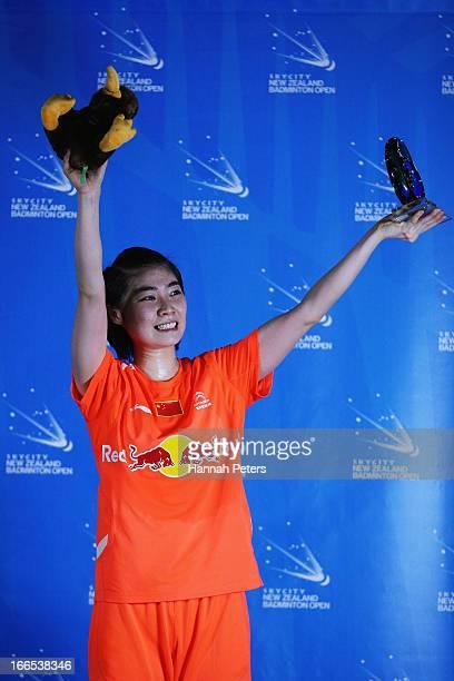Deng Xuan of China celebrates winning the New Zealand Badminton Open Women's Singles final match between Yamaguchi Akane of Japan and Deng Xuan of...