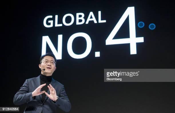 Deng Yuchen chief of Japan operations at Oppo speaks during a launch event of the company's R11s smartphone for the Japanese market in Tokyo Japan on...