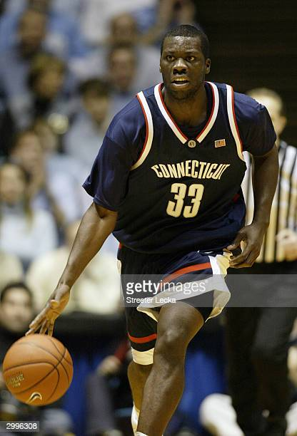 Denham Brown of the University of Connecitcut Huskies moves the ball during the game against the Universtiy of North Carolina Tar Heels on January...