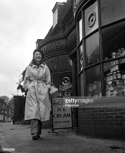 Denham Village England 17 year old French actress Anouk Aimee who is in England to act in the film 'Golden Salamander' is pictured shopping