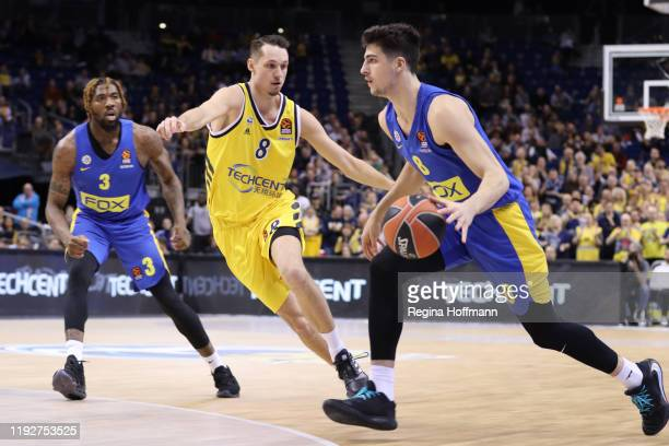 Deni Avdija #8 of Maccabi Fox Tel Aviv competes with Marcus Eriksson # 8 of Alba Berlin during the 2019/2020 Turkish Airlines EuroLeague Regular...
