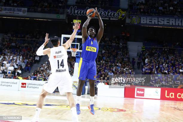 Deni Avdija #8 of Maccabi Fox Tel Aviv in action during the 2018/2019 Turkish Airlines EuroLeague Regular Season Round 16 game between Real Madrid...
