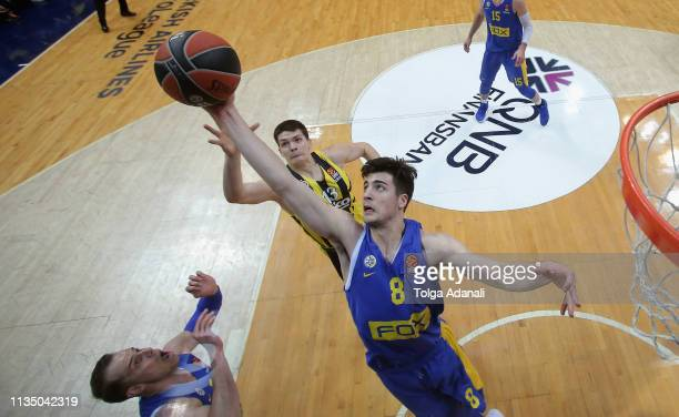 Deni Avdija #8 of Maccabi Fox Tel Aviv in action during the 2018/2019 Turkish Airlines EuroLeague Regular Season Round 30 game between Fenerbahce...
