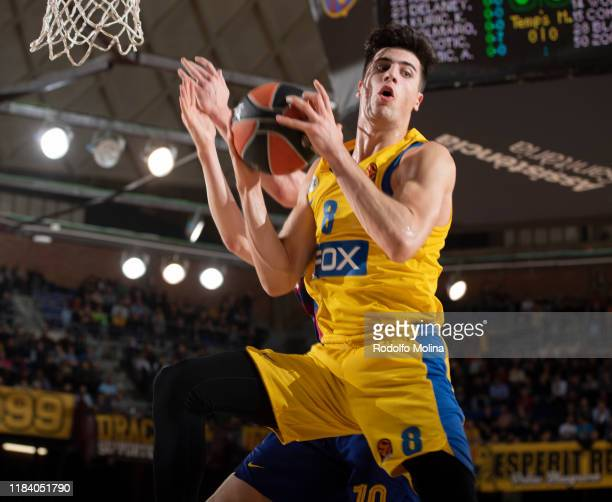 Deni Avdija #8 of Maccabi Fox Tel Aviv in action during the 2019/2020 Turkish Airlines EuroLeague Regular Season Round 10 match between FC Barcelona...