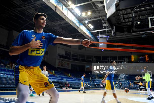 Deni Avdija #8 of Maccabi Fox Tel Aviv warm up before the Turkish Airlines EuroLeague match between Khimki Moscow Region and Maccabi Fox Tel Aviv at...
