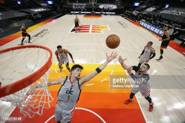 Deni Avdija of the Washington Wizards grabs the rebound during the game against the Utah Jazz on April 12, 2021 at vivint.SmartHome Arena in Salt...