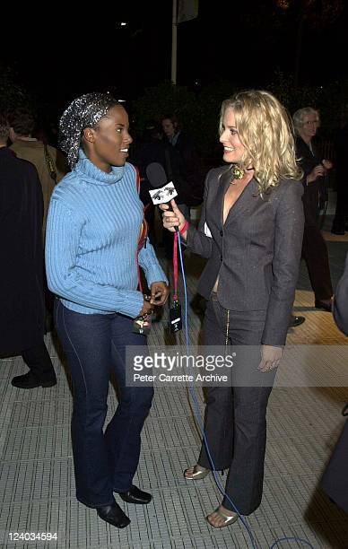 Deni Hines speaks with Sami Lukis at the opening night of the Cirque du Soleil production of 'Alegria' under the Grand Chapiteau at Moore Park on May...