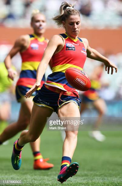 Deni Varnhagen of the Adelaide Crows during the AFLW Preliminary Final match between the Adelaide Crows and thew Geelong Cats at Adelaide Oval on...