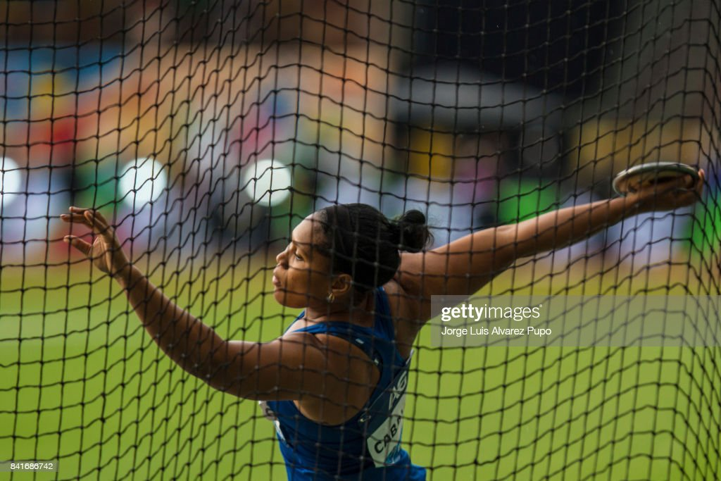 Denia Caballero of Cuba competes in women's Discus Throw during the AG Insurance Memorial Van Damme as part of the IAAF Diamond League 2017 in King Baudouin Stadium on September 1, 2017 in Brussels, Belgium.