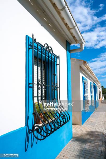 denia in alicante mediterranean facades spain - denia stock pictures, royalty-free photos & images