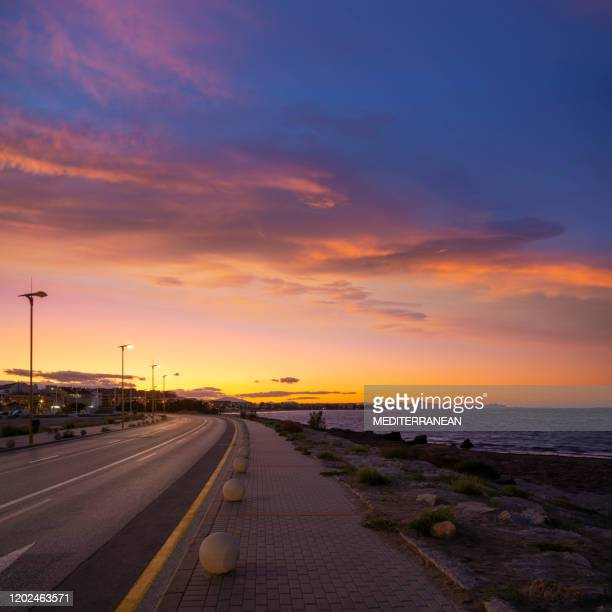 denia sunset in alicante mediterranean spain - denia stock pictures, royalty-free photos & images