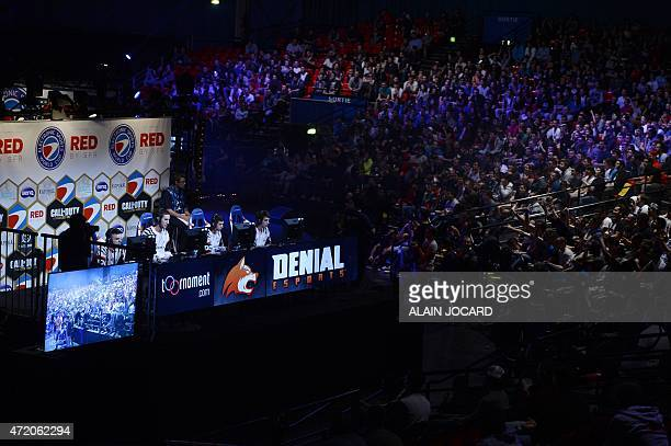 'Denial esports' team members compete during the Call of Duty Advanced Warfare ESWC final on May 3 2015 in Paris The video game event gather the...