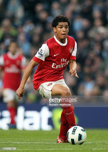 Denilson of Arsenal in action during the Barclays Premier League match between Manchester City and Arsenal at City of Manchester Stadium on October...