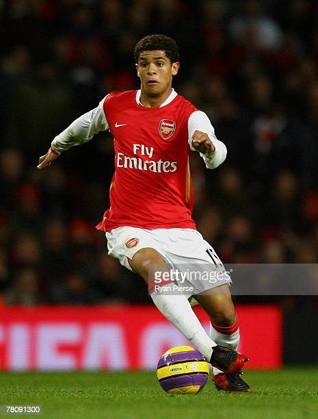 Denilson of Arsenal in action during the Barclays Premier League match between Arsenal and Wigan Athletic at the Emirates Stadium on November 24 2007...