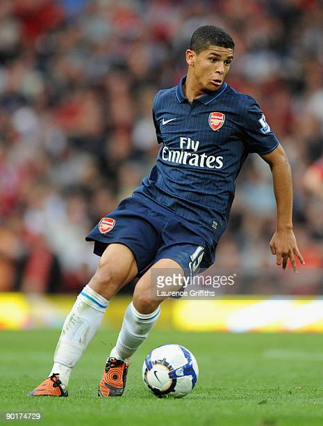 Denilson of Arsenal in action during the Barclays Premier League match between Manchester United and Arsenal at Old Trafford on August 29 2009 in...