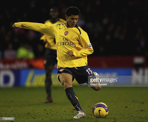 Denilson of Arsenal in action during the Barclays Premiership match between Sheffield United and Arsenal at Bramall Lane on December 30 2006 in...