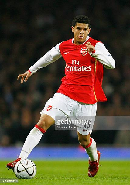Denilson of Arsenal in action during the Carling Cup Semi Final Second Leg match between Arsenal and Tottenham Hotspur at the Emirates Stadium on...