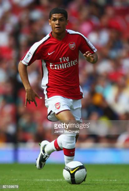 Denilson of Arsenal in action during the preseason friendly match between Arsenal and Juventus during the Emirates Cup at the Emirates Stadium on...