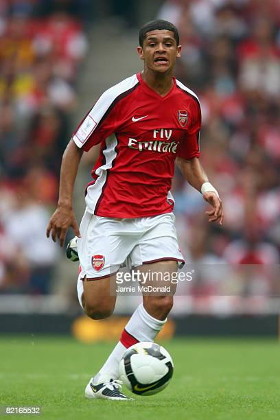 Denilson of Arsenal in action during the preseason friendly match between Arsenal and Real Madrid during the Emirates Cup at the Emirates Stadium on...