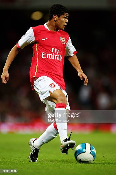 Denilson of Arsenal in action during the UEFA Champions League qualifying second leg match between Arsenal and Sparta Prague at The Emirates Stadium...