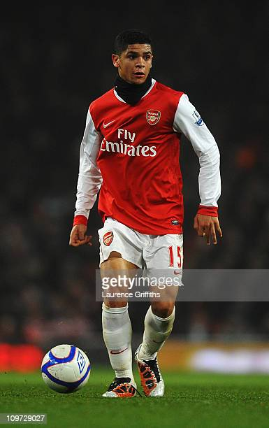 Denilson of Arsenal runs with the ball during the FA Cup sponsored by EON 5th Round Replay match between between Arsenal and Leyton Orient at the...